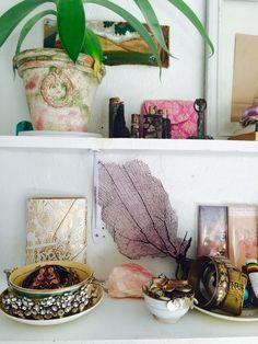 art, nature, objects, shelf styling