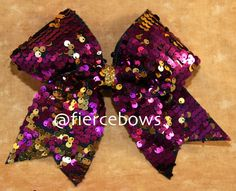 89f9f203bc Items similar to Magenta and Gold Reversible Sequin Cheer Bow on Etsy