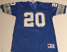 Vtg Detroit Lions Barry Sanders Jersey Champion size 44 Blue Number 20 in Sports Mem, Cards & Fan Shop, Fan Apparel & Souvenirs, Football-NFL | eBay