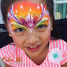 Neon Princess Face Painting - Color Me Face Painting - Vanessa Mendoza