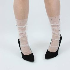 Ivory sheer tulle socks with black jet crystals fashion