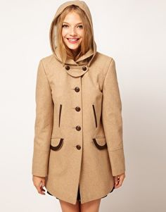 Enlarge ASOS Fold Over Collar Coat With Hood