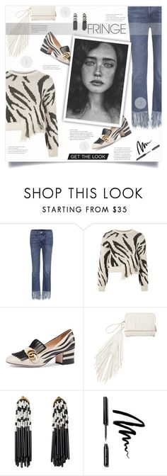 """""""Shimmy Shimmy: Fringe"""" by smajlovicelvira ❤ liked on Polyvore featuring 3x1, Topshop, Gucci, The Volon, Lele Sadoughi and Bobbi Brown Cosmetics"""