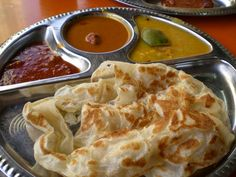 JP: Malaysian Cuisine - Roti canai, as served at the mamak stall, with dhal, curry, and sambal :) Indian Food Recipes, Asian Recipes, Vegetarian Recipes, Cooking Recipes, Ethnic Recipes, Vietnamese Recipes, Malaysian Cuisine, Malaysian Food, Malaysian Recipes