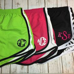 Woman Teen Ladies Monogrammed Athletic Short With Mesh Inserts ($20) ❤ liked on Polyvore featuring activewear, activewear shorts, shorts, black and women's clothing