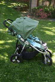 Awesome Bumbleride Indie Twin Stroller in Seagrass Green.