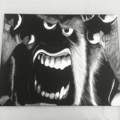 11x14 scratchboard artwork of Sully from Monsters Inc.