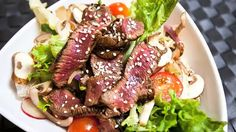 Miso Steak Salad: Were always saying that salads don't have to be boring or only eaten on a diet and we prove it once again here. Steak is awesome in any salad and its even better when combined with our mix of Asian flavours. Healthy Salads, Healthy Recipes, Steak Salad, Food Tasting, Food Categories, How To Make Salad, Daily Meals, Steak Recipes, Asian Recipes