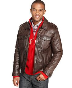 Tommy Hilfiger Jacket, Vintage Leather Moto Jacket - Mens Coats & Jackets - Macy's