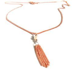 Delicate Copper Necklace pearl sterling silver beads by Daniblu, $25.00