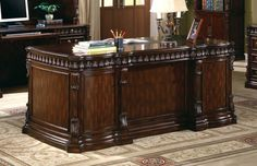 Dark Brown Large Solid Wood Executive Home Office Desk