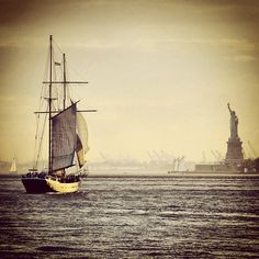 New York Harbor sunset. Nyc Water, New York Harbor, Top Pic, Concrete Jungle, Sailing Ships, Wander, Places Ive Been, New York City, To Go