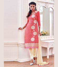 Pink Chanderi Cotton Churidar Suit 67581