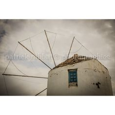 Greek Windmill Photo Greece Charm Photo Fine Art Photography European... (€8,51) ❤ liked on Polyvore featuring home, home decor, wall art and greek