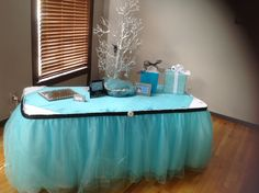 Gift table at the shower. Out tulle skirting is beautiful!