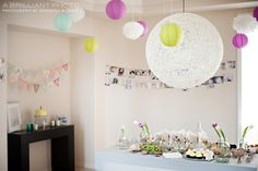 Love the softness of the decor for this baby's first bday...a bit delicate for our guy but lovely