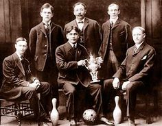 In 1905, Frish's Tigers were the champions of Detroit's Olympia Bowling League. Standing, from left, are Harry Beaton, John Frish, and Joseph Yergel. Seated, from left, Winfield Ramsey, Joseph Bauer, and Joseph Brichta.    From The Detroit News: http://apps.detnews.com/apps/history/index.php?id=11#ixzz25k4Yy8p1