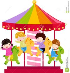 Carousel Horse And Children Royalty Free Stock Photo - Image: 12445665
