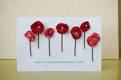 Red and Coral Colored Flower Hair Accessories Bobby by Thenshemade, $7.50