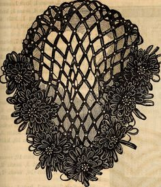 Black Velvet Net, Ornamented with Rosettes and Pearl Beads: Godey's Lady's Book, October 1862   In the Swan's Shadow