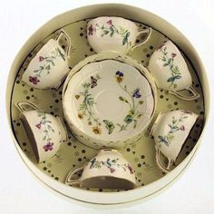 Caroline Wildfloral Gift Boxed Set of 6 Fine Porcleain Demi Tea Cups with Saucers
