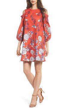 cbba0d8a907 Maggy London Print Sateen Cold Shoulder Shift Dress