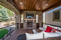 New Deck Addition Heritage Hills Lone Tree CO contemporary-porch Patio Design, House Design, Deck Fireplace, New Deck, Colorado Homes, Covered Decks, Pool Landscaping, Outdoor Areas, Outdoor Living