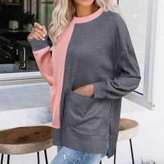 NANTE Top Womens Blouses Stripe Print Pullover Loose Tops Patchwork Sweater Casual Hollow Out T-Shirt
