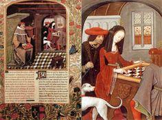 """Miniatura inicial del manuscrito """"Echecs amoureux"""". De Robinet Testard, 1498. A la derecha, detallle donde se muestra a Marguerite d'Alenç..."""
