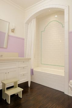 Girls Bathroom Design Ideas, Pictures, Remodel, and Decor - page 2 Bath Girls, Kids Bath, Bad Inspiration, Bathroom Inspiration, Bathtub Alcove, Bathroom Kids, Girl Bathrooms, White Bathroom, Pastel Bathroom