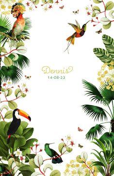 Jungle geboortekaartje met kolibrie, toekan, planten en bloemen. Jungle Theme Nursery, Jungle Theme Birthday, Theme Background, Leaf Background, Instagram Feed Theme Layout, Concrete Art, Birth Announcement Boy, Pretty Wallpapers, Tropical Flowers