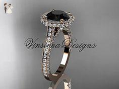 14kt rose gold diamond wedding ring, engagement ring, Black Diamond VD10074 - Wedding and engagement rings (*Amazon Partner-Link)