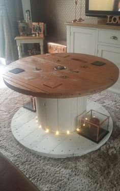 reclaimed cable reel coffee table