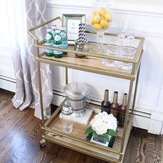 #Target Bar Cart styled with #homegoods accessories.
