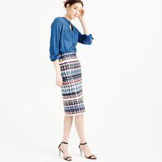 """There's always an occasion (important or not so important) to wear a dressy statement skirt. We love this knee-length number that's designed in our silky tie-dye print. <ul><li>Sits at waist.</li><li>25 1/2"""" long.</li><li>Falls below knee.</li><li>Silk/wool.</li><li>Back zip.</li><li>Lined.</li><li>Dry clean.</li><li>Import.</li></ul>"""