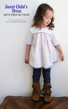 This sweet child& dress pattern is a free pattern and tutorial from sizes 18 months to 8 years. It includes both dress and tunic lengths. Sewing Projects For Kids, Sewing For Kids, Baby Sewing, Free Sewing, Kids Dress Patterns, Clothing Patterns, Blouse Patterns, Sewing Patterns Girls, Girls Dresses Sewing