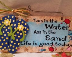 Hand Painted Flip Flops Welcome by gonepostal09 on Etsy