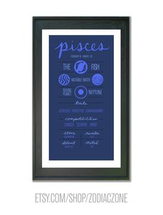 This is a small poster about the zodiac sign of Pisces: the 12th sign of the zodiac, a mutable water sign. Check out more at etsy.com/shop/zodiaczone #aries #zodiac #astrology #birthday #poster #design #print #fire #outer #space #planets #stars #cosmos #taurus #gemini #cancer #leo #virgo #libra #scorpio #sagittarius #capricorn #aquarius #pisces #signs #constellation #wall #decor #wall #art #info #graphic #infographic #design