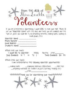 Parent Volunteer Letter General School | September | Pinterest ...