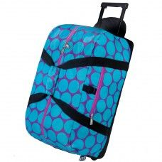 Duffle Bags> Non Wheeled: Big Dot Aqua Rolling Duffel Bag