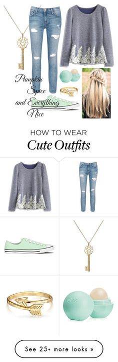 """Cute Teen/Tween Outfit!! A.K."" by sparklecat102 on Polyvore featuring mode, Aurélie Bidermann, Chicwish, Current/Elliott, Converse, Eos et Bling Jewelry"