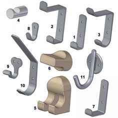 On this page you are offered 11 different drawings of coat hook models which contain all the dimensions necessary for their making. Diy Coat Rack, Coat Hooks, Woodworking Courses, Furniture Plans, Metal Working, Wood Projects, Hanger, How To Plan, Drawings