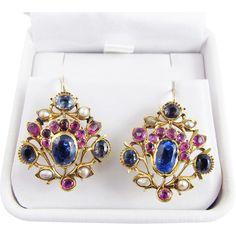 MASTERPIECE Georgian 9.47 Ct. TW Sapphire/Ruby/Pearl/18k Giardinetti Earrings, c.1775!