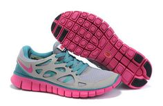 Nike Free 2 Grey Cherry Turquoise Blue Women Shoes Sale: £55.84