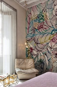 love the colours in this illustrated floral wallpaper mural!