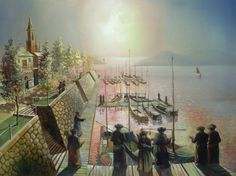 A Beautiful Jewish Art oil painting for sale of Tashlich in Europe by steve Karro.    A real Oil on canvas painting only at www.judaica-art.com
