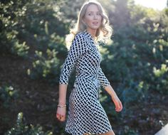 Iconic DVF Wrap Dress in Classic Black and White Geometric Chain PrintMEMORANDUM, formerly The Classy Cubicle