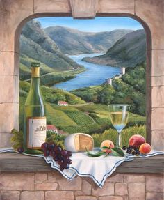 The Fine Art Tapestries Rhine Wine Moment Wall Tapestry cleverly combines landscape with still life, setting the scene for the feast of a lifetime. Cross Paintings, Easy Paintings, Number Drawing, Wine Art, 5d Diamond Painting, In Vino Veritas, Paint By Number, Mail Art, Tuscany