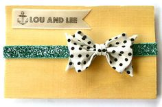 .Baby Headband-Dottie felt flower bow with vintage fabric and glitter band - absolutely adorable! Would be perfect for a newborn!