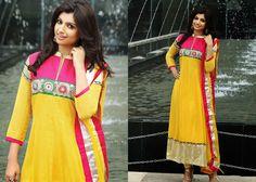 Glamorous Deep Pink & Yellow Salwar Kameez | StylishKart.com